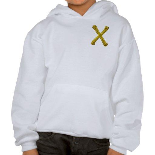Gold Glitter Monogram X Hooded Sweatshirts