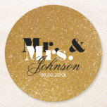 "Gold glitter Mr and Mrs coasters for wedding party<br><div class=""desc"">Faux gold glitter Mr and Mrs coasters for wedding party. Golden glittery texture design with last name for newly weds couple. Festive party supplies for classy marriage, stylish bridal shower, fancy engament, chic anniversary, bbq dinner, bachelorette etc. Personalized drink coasters with family surname of married bride and groom plus date....</div>"