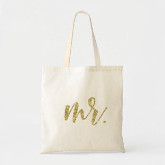 Gold Glitter Mr. Modern Wedding Script Tote Bag