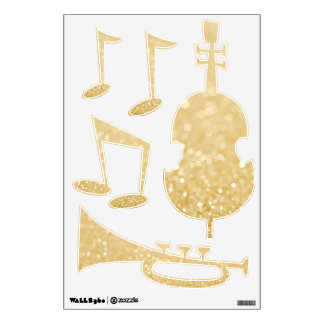 Gold Glitter Music Room Wall Decals