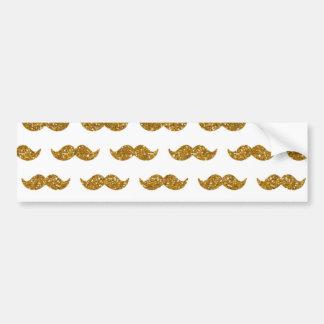 Gold Glitter Mustache Pattern Printed Bumper Sticker