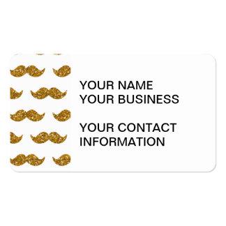 Gold Glitter Mustache Pattern Printed Business Card