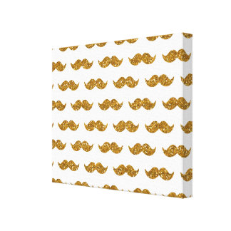 Gold Glitter Mustache Pattern Printed Stretched Canvas Print