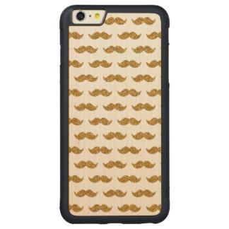 Gold Glitter Mustache Pattern Printed Carved Maple iPhone 6 Plus Bumper Case