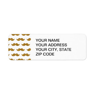 Gold Glitter Mustache Pattern Printed Label