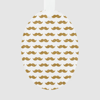 Gold Glitter Mustache Pattern Printed Ornament