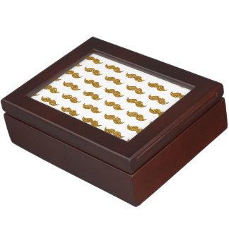 Gold Glitter Mustache Pattern Printed Keepsake Box