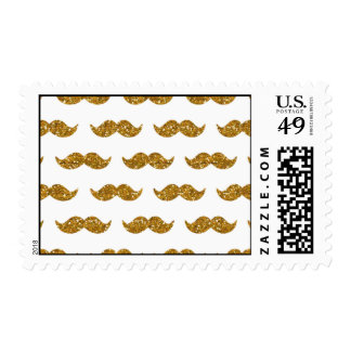 Gold Glitter Mustache Pattern Printed Postage