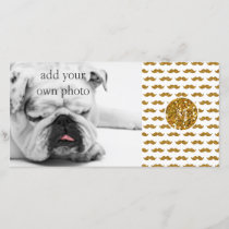 Gold Glitter Mustache Pattern Your Monogram