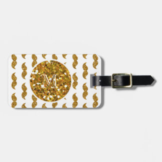 Gold Glitter Mustache Pattern Your Monogram Bag Tag
