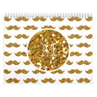 Gold Glitter Mustache Pattern Your Monogram Wall Calendars