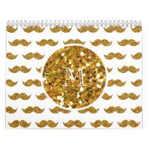 Gold Glitter Mustache Pattern Your Monogram Calendar