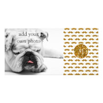 Gold Glitter Mustache Pattern Your Monogram Card