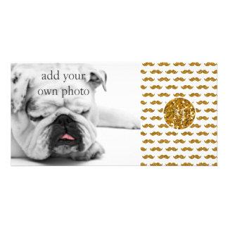 Gold Glitter Mustache Pattern Your Monogram Card
