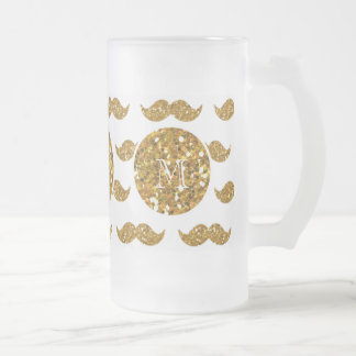 Gold Glitter Mustache Pattern Your Monogram Frosted Glass Beer Mug