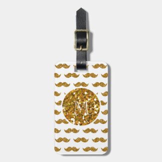Gold Glitter Mustache Pattern Your Monogram Travel Bag Tag