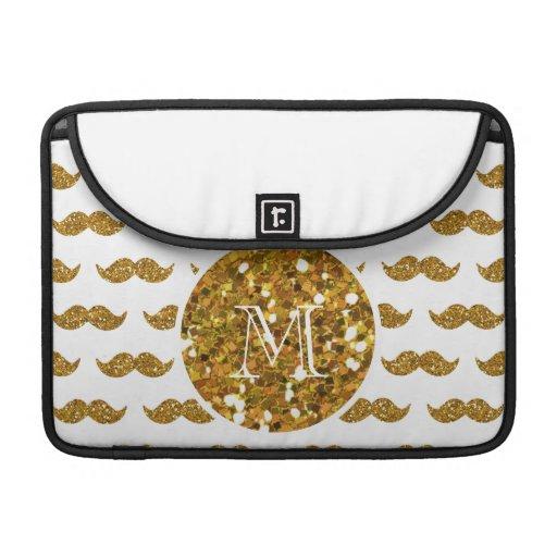Gold Glitter Mustache Pattern Your Monogram MacBook Pro Sleeves