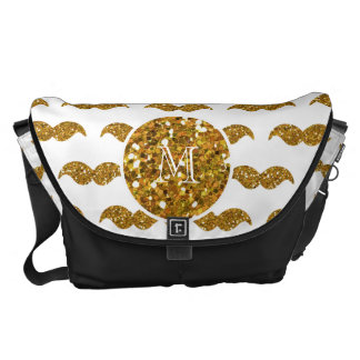 Gold Glitter Mustache Pattern Your Monogram Courier Bags