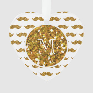 Gold Glitter Mustache Pattern Your Monogram Ornament