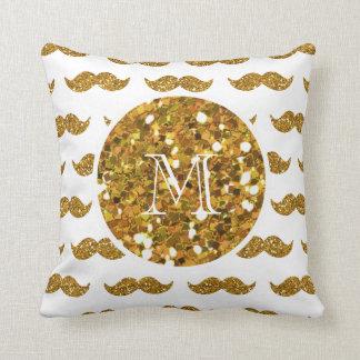 Gold Glitter Mustache Pattern Your Monogram Throw Pillow