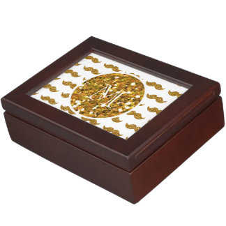 Gold Glitter Mustache Pattern Your Monogram Memory Boxes