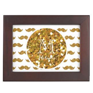 Gold Glitter Mustache Pattern Your Monogram Memory Box