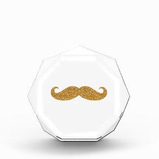 Gold Glitter Mustache Print Golden Moustache Curly Award
