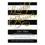 "Gold Glitter Navy Black Stripe Shower Invitation 5"" X 7"" Invitation Card"