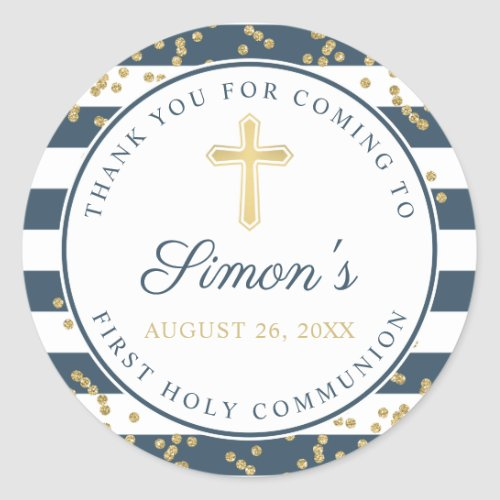 Gold Glitter Navy Blue First Holy Communion Classic Round Sticker
