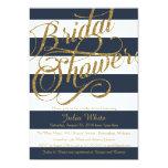 "Gold Glitter Navy Blue Strip Shower Invitation 5"" X 7"" Invitation Card"