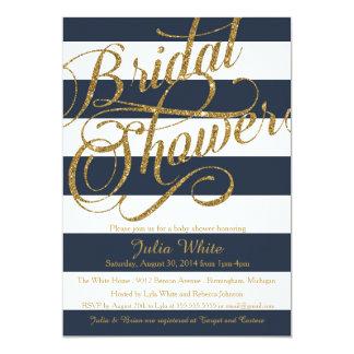 Gold Glitter Navy Blue Strip Shower Invitation