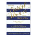 Gold Glitter & Navy Blue Stripe Shower Invitation