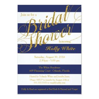 "Gold Glitter & Navy Blue Stripe Shower Invitation 5"" X 7"" Invitation Card"