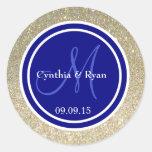 Gold Glitter & Navy Blue Wedding Monogram Seal Classic Round Sticker