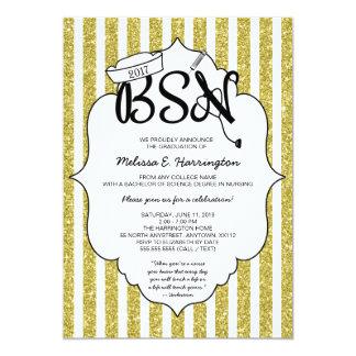 Gold Glitter Nurse graduation BSN pinning ceremony Card