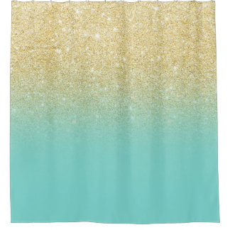 Gold glitter ombre robbin egg blue color block shower curtain