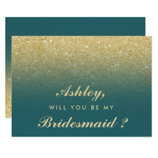 Gold glitter ombre teal be my bridesmaid invitation