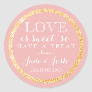 Gold Glitter on ANY COLOR Wedding Favor Label Classic Round Sticker