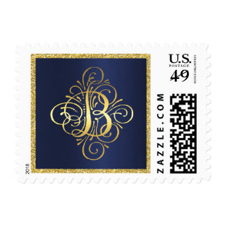 Gold Glitter on Navy Blue Golden Initial B Postage Stamp