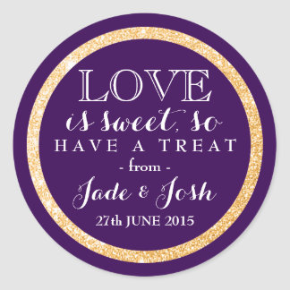 Gold Glitter on Plum Purple Wedding Favor Label