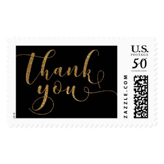 "Gold Glitter Ornate ""Thank You"" on Black, 19d-28 Postage"