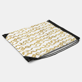 Gold Glitter Party Streamers on White Background Cinch Bags