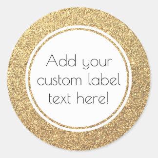 Gold Glitter Pattern Custom Craft Favor Wedding Classic Round Sticker