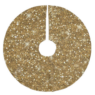 Gold Glitter Pattern ID144 Brushed Polyester Tree Skirt