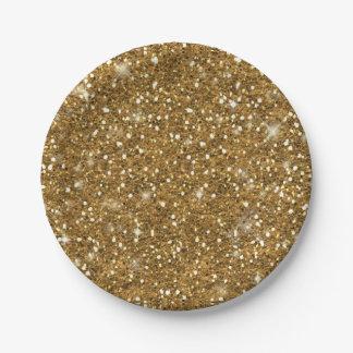 Gold Glitter Pattern 7 Inch Paper Plate