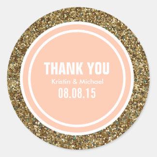 Gold Glitter Peach Custom Thank You Label Classic Round Sticker