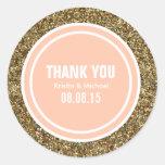 Gold Glitter Peach Custom Thank You Label Sticker