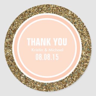 Gold Glitter & Peach Thank You Label