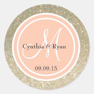 Gold Glitter & Peach Wedding Monogram Classic Round Sticker