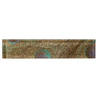 Gold glitter peacock feathers name plate